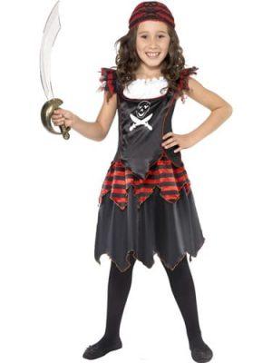 Gothic Pirate Girl Children's Fancy Dress Costume