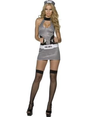 Fever Collection Jail Diva Ladies Fancy Dress Costume