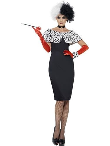 Evil Madame (Cruella) Ladies Fancy Dress Costume