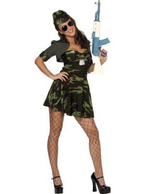Military Babe Ladies Fancy Dress Costume