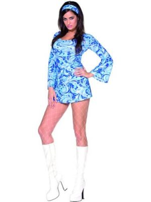 Fever Collection Psychedelic Babe Ladies Fancy Dress Costume