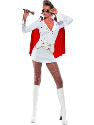 Elvis Viva Las Vegas White/Red Ladies Fancy Dress Costume