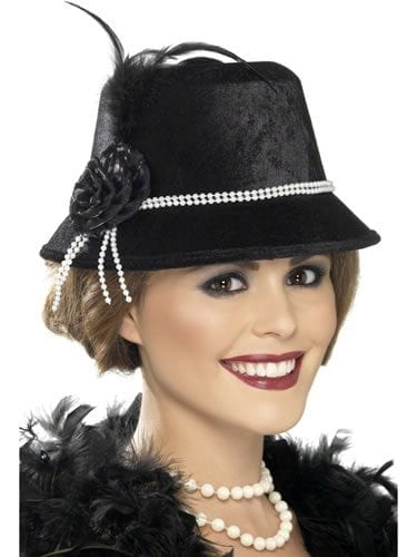 1920's Black Trilby Hat