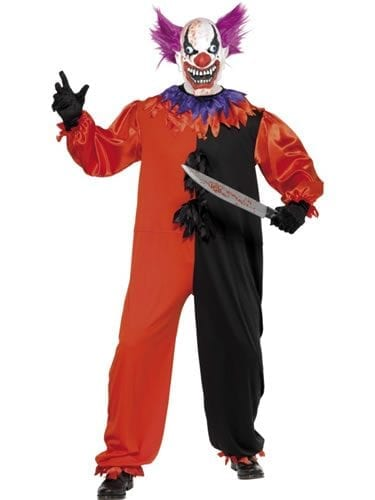 Cirque Sinister Scary Bo Bo the Clown Mens Halloween Fancy Dress