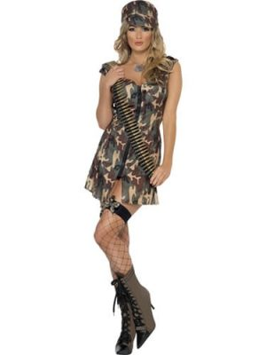 Fever Collection Army Girl Ladies Fancy Dress Costume