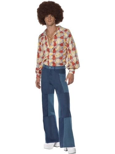 1970's Denim Look Patchwork Flares Men's Fancy Dress Costume