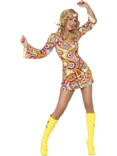 1960's Hippy Ladies Fancy Dress Costume
