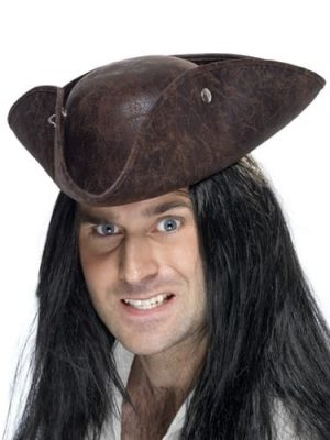 Brown Leather Look Pirate Tricorn Hat