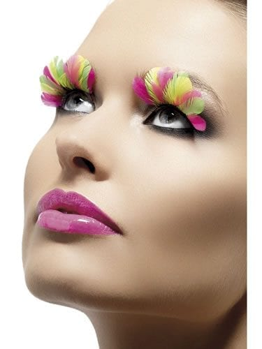 Fever Collection Neon Multi Coloured Feathered Eyelashes