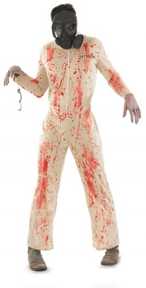 Zombie Prisoner Mens Halloween Fancy Dress Costume