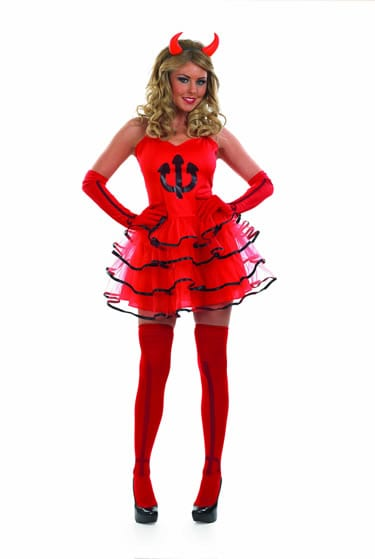 Sexy Red Devil Ladies Halloween Fancy Dress Costume