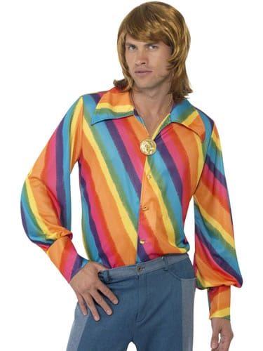 1970's Rainbow Coloured Shirt Men's Fancy Dress Costume