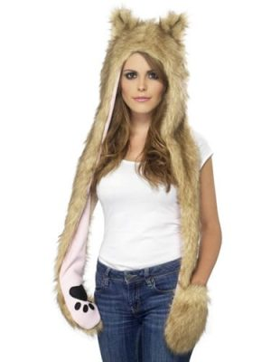Wolf Hood with Attached Scarf