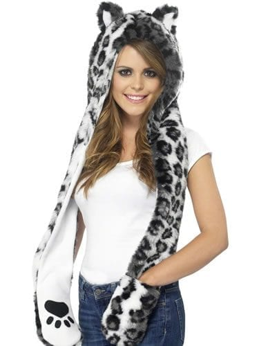 Snow Leopard Hood with Attached Scarf