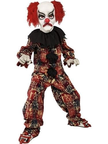 Zombie Alley Scary Clown Boys Halloween Fancy Dress Costume