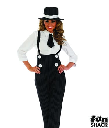 Black Sexy Gangster Girl Ladies Fancy Dress Costume