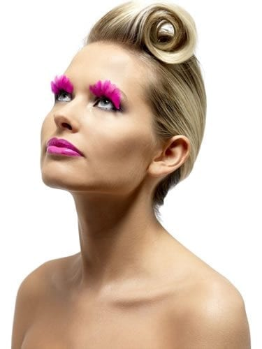 Fever Collection Neon Pink Feathered Eyelashes