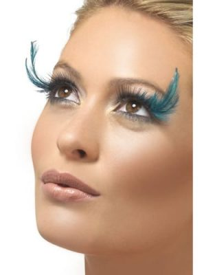 Fever Collection Black Eyelashes with Teal Green Feather Plume Contains Glue