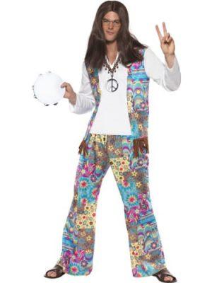 Groovy Hippie Men's Fancy Dress Costume