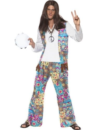 Groovy Hippie Men's Fancy Dress Costume