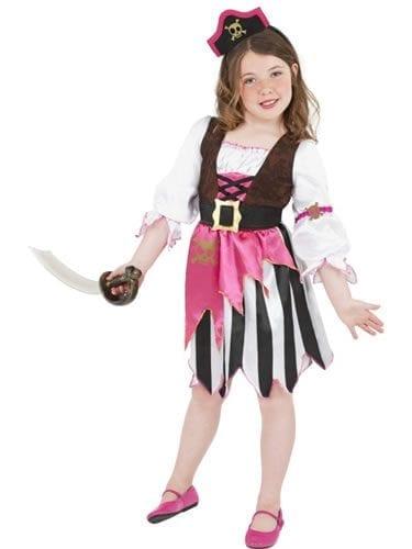 Pink Pirate Girl Childrens Fancy Dress Costume