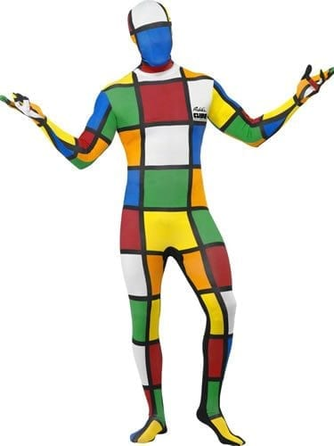 Second Skin Rubik's Cube Bodysuit Men's Fancy Dress Costume