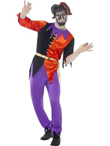Cirque Sinister Twisted Jester Men's halloween Fancy Dress Costume