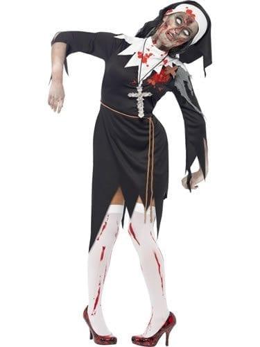 Zombie Alley Bloody Sister Mary Ladies Halloween Fancy Dress Cos