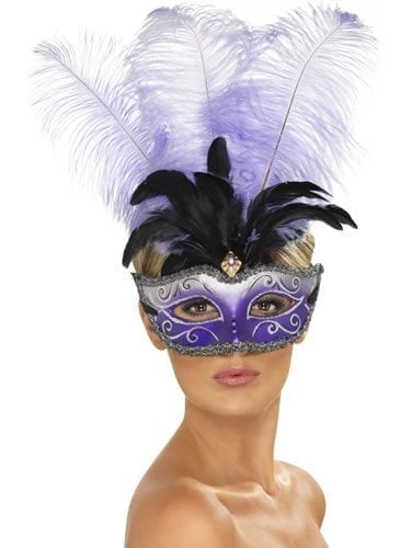 Venetian Columbina Eyemask with Multicolour Plume