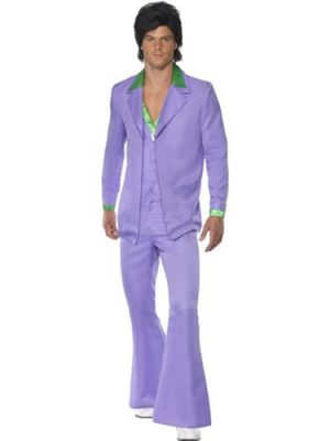 1970's Lavender Suit Men's Fancy Dress Costume