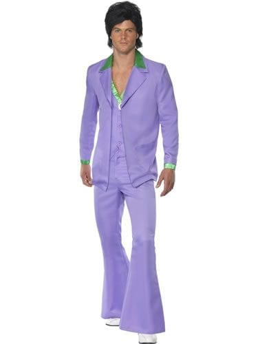 1970's Lavender Suit Men's Fancy Dress Costume