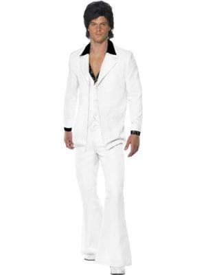 1970's White Suit Men's Fancy Dress Costume