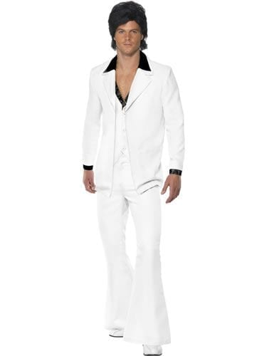 1970's White Suit Men's Fancy Dress Costume