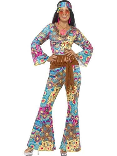 Hippie Flower Power Ladies Fancy Dress Costume