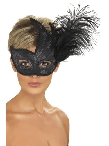 Ornate Colombine Black Feather Eyemask