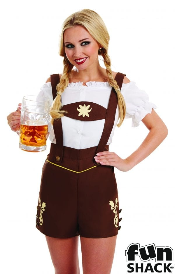 Bavarian Lederhosen Girl Ladies Fancy Dress Costume