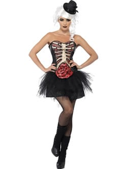 Grotesque Burlesque Corset Halloween Ladies Fancy Dress Costume