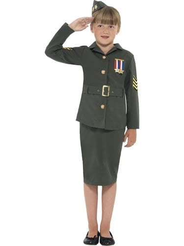 World War II Army Girl Children's Fancy Dress Costume