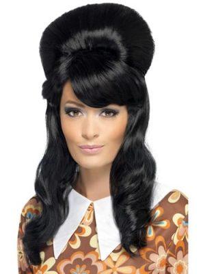 60's Brigitte Bouffant Black Wig