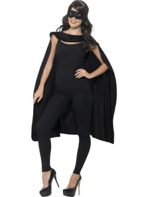 Black Superhero Cape Unisex Fancy Dress Costume
