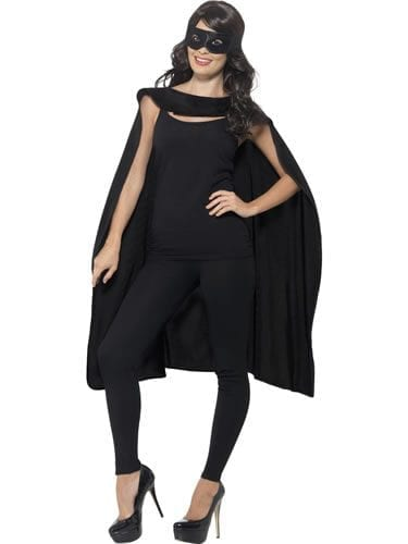 Black Superhero Cape Unisex Fancy Dress Costume