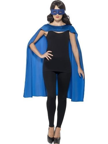 Blue Superhero Cape Unisex Fancy Dress Costume