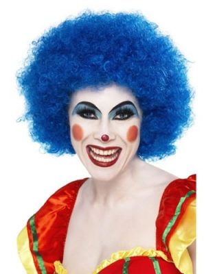 Crazy Clown Blue Curly Afro Wig