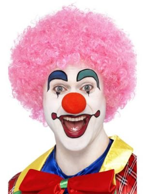 Crazy Clown Pink Curly Afro Wig