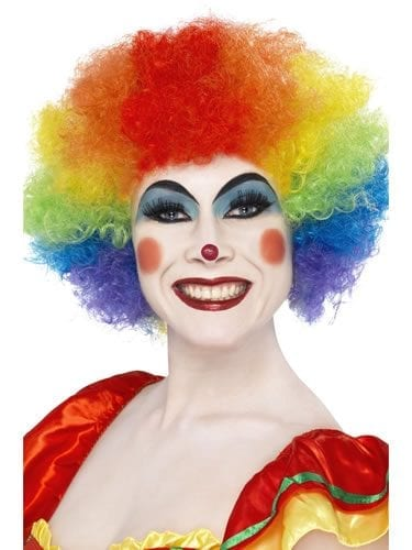Crazy Clown Rainbow Curly Afro Wig