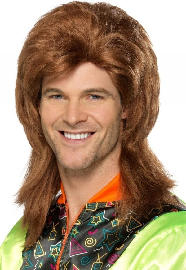80's Mullet Wig Brown Mix