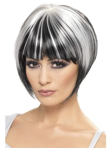 Quirky Bob Black/White Streak Wig