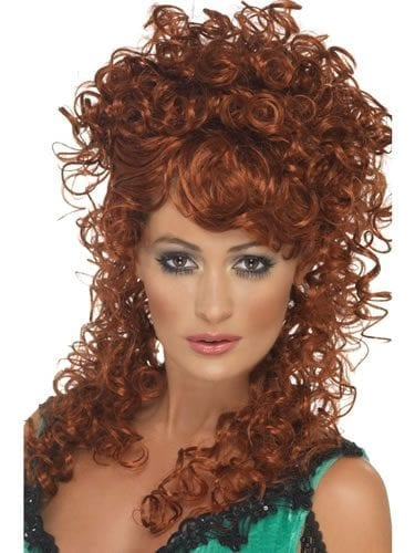 Saloon Girl Auburn Curly Wig