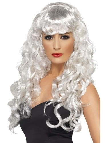 Long White Curly Siren Wig