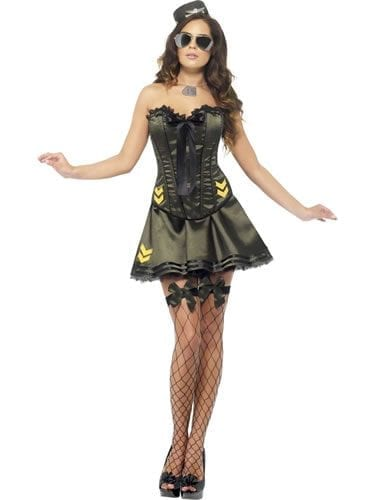 Fever Boutique Collection Army Ladies Fancy Dress Costume